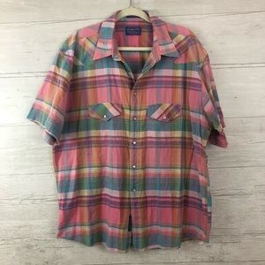 Pendleton Flannel T-Shirt Button Down